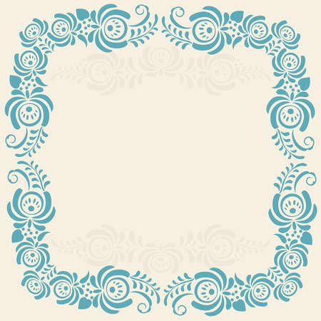 Frame of floral elements Vector frame with russian ornament in gzhel style  Vector