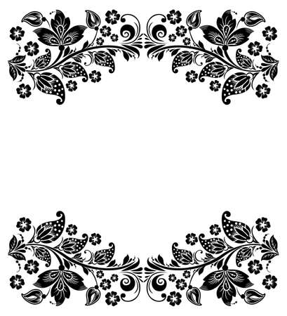 hohloma: Vector floral background  Russian traditional ornament Hohloma  black and white design elements