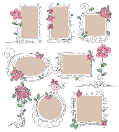 borde de flores: Conjunto de bastidores de la primavera del Doodle con flores Vectores