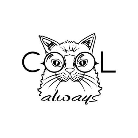 cool people: Vector Fashion Portrait of Hipster Cat in Big Glasses. Cool cat