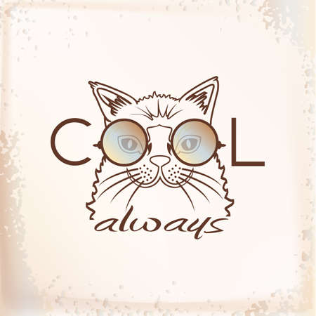t shirt print: Vector divertido gato hocico en gafas de sol de cerca. Enfriar siempre. Retrato del gato fresco