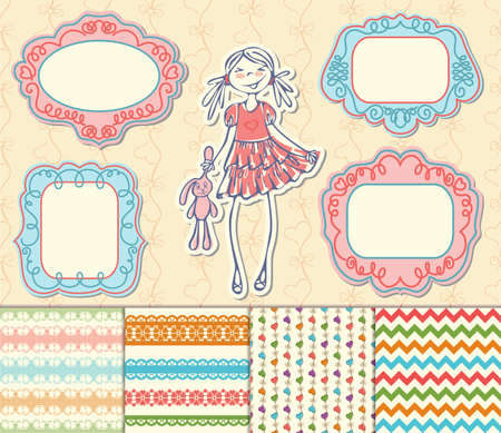 Vintage label set, Hand-drawn doodles and design elements, Ornate frames, banners and seamless pattern in spring color. Romantic set of labels and pattern Vector