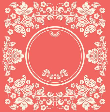 Elegant decorative flower russian khokhloma postcard frame. Floral background Vector
