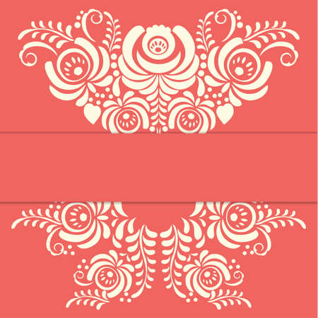 greating card: Russian red ornaments art frame in gzhel style with place for your text