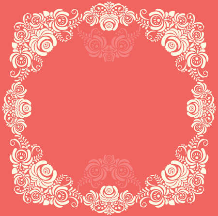 Frame of floral elements. frame with russian ornament in gzhel style. Vector