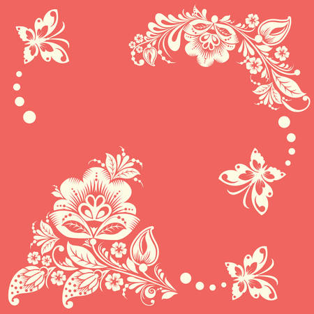 Abstract floral background with butterflies. elements of flower. Vector