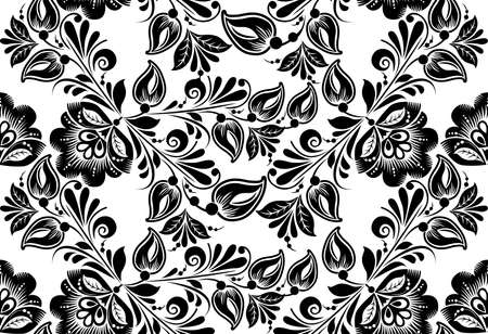 hohloma: Vector floral seamless pattern. Russian traditional ornament Hohloma. black and white background