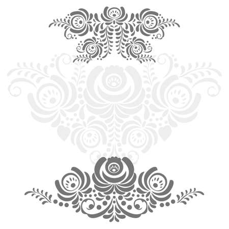 Russian ornaments art frame in gzhel style with place for your text Vector