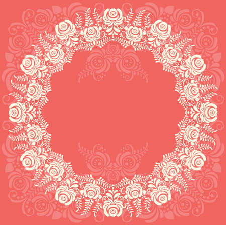 Frame of floral elements frame with russian ornament in gzhel style. Vector