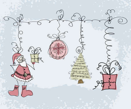 Hand-drawn Christmas doodle sketch objects. santa, gift boxes, Christmas tree. Vector illustration. Illustration