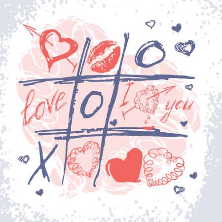 Valentijnskaartkaart. Vector liefde doodle achtergrond Stockfoto - 37479663