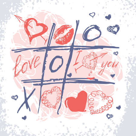 Valentines Day card. Vector love doodle background