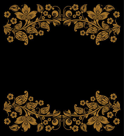 khokhloma: Vector Elegant decorative russian khokhloma postcard frame Illustration