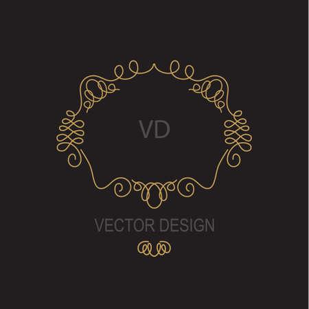 surround: Premium Art Nouveau frame copy space for text in  mono line style - art deco vector monogram design element