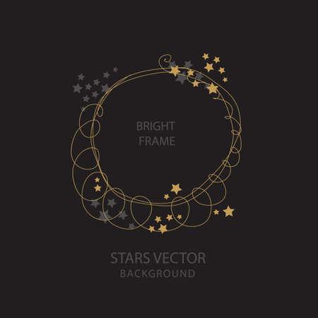 Round frame with golden stars. Hand drawn vector background
