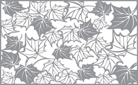 laser cutting: Autumn pattern, with maple leaves. Fall Vector design background for cutting with a laser or plotter. Template for cut