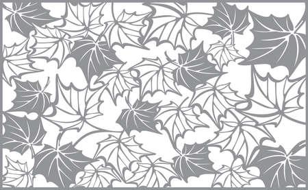corte laser: Modelo del otoño, con hojas de arce. Caída del vector de diseño de fondo para el corte con un láser o plotter. Plantilla para corte Vectores