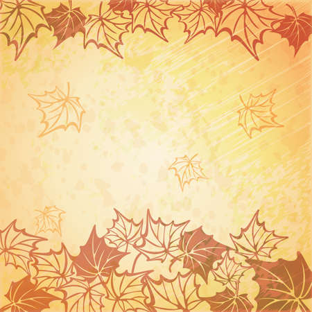 Vector illustration of a beautiful autumn background. fall maple leaf