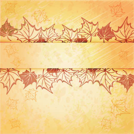 autumn motif: Autumn maple leaf vector frame with copy space on yellow background. Fall set.