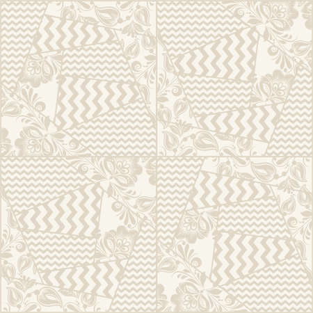 grange: Vector vintage seamless rustic patchwork geometric pattern with grange flowers and chevron