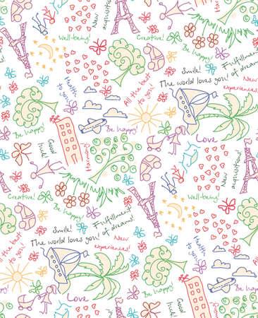 convivencia familiar: doodle de Goles sueños y deseos sin patrón. Dibujo sus antecedentes de vida feliz