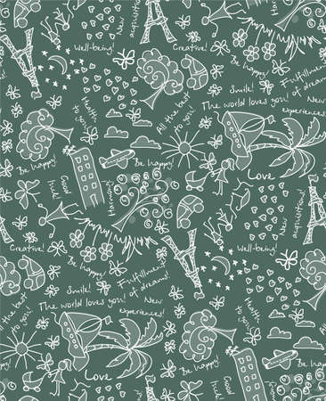 doodle Goals dreams and wishes seamless pattern. Drawing your background of happy life Illustration