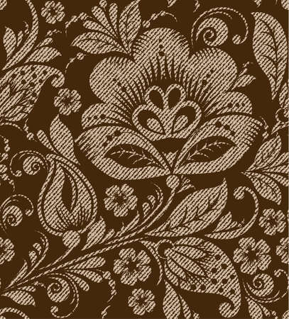brown pattern: Vector seamless vintage floral pattern. Stylized silhouettes of flowers and berries on the texture on a brown background. beige flowers with gold leaves. Russian vintage ornament