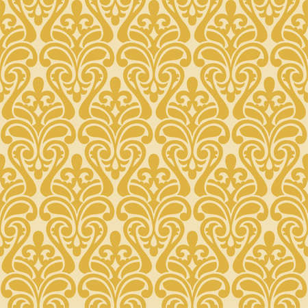 Vector yellow Ikat Damask Seamless Background Pattern.