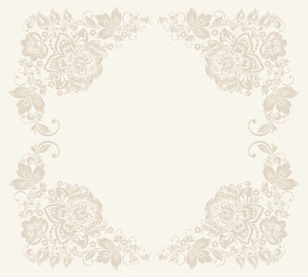 khokhloma: Vector Elegant background with decorative russian khokhloma postcard frame Illustration