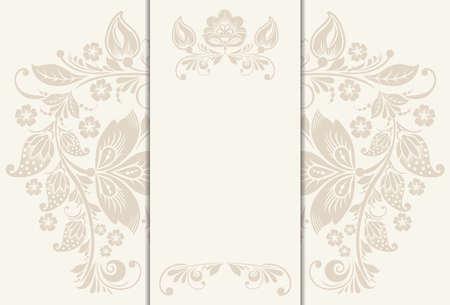 floristics: floral rustic wedding cards, beautiful design, can be used as banner for wedding of floristics shop, vector illustration Illustration
