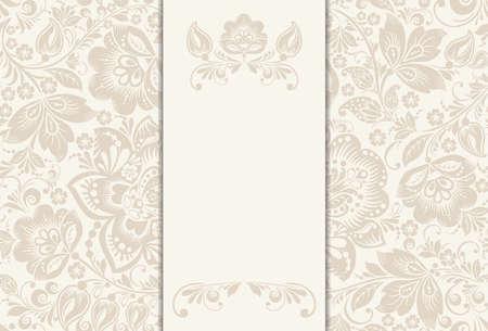 Invitation de Vector, carte d'anniversaire avec une étiquette pour votre texte personnalisé dans des tons subtils hors blancs et beige avec un motif floral délicat et le cadre en arrière-plan. EPS10 Vecteurs