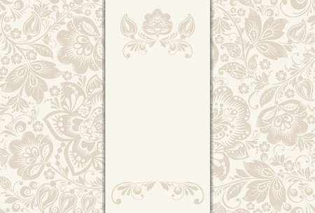 Vector Invitation, anniversary card with label for your personalized text in shades of subtle off-whites and beige with a delicate  floral pattern and frame in the background. EPS10 Ilustração