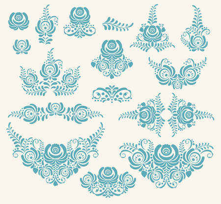 gzhel: Blue vector floral elements in gzhel style