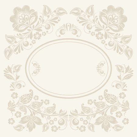 khokhloma: Vector background of floral pattern with traditional russian flower ornament. Khokhloma.