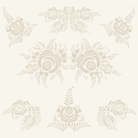 gzhel: Beige vector floral elements in gzhel style