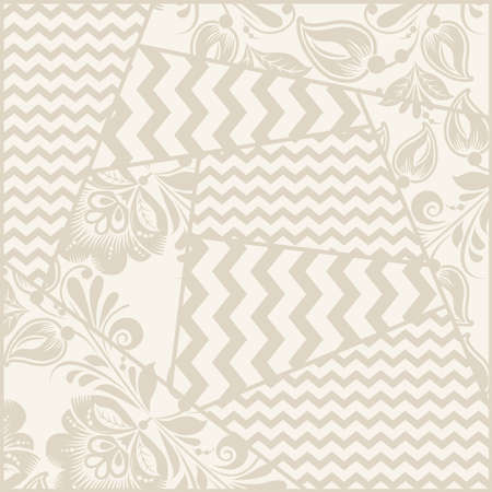 zig: Vector vintage seamless rustic patchwork geometric pattern with grange yellow flowers and chevron Illustration