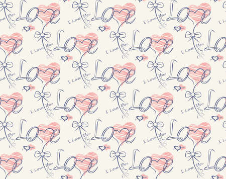 penman: Love note Seamless text pattern with hearts. Text backgrounds applicable in printing, textiles , art objects , clothing , wallpaper , computer screensavers , games and applications . Illustration