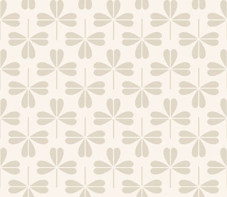 auspicious element: Vector seamless pattern with stylized clover leaves on a beige background