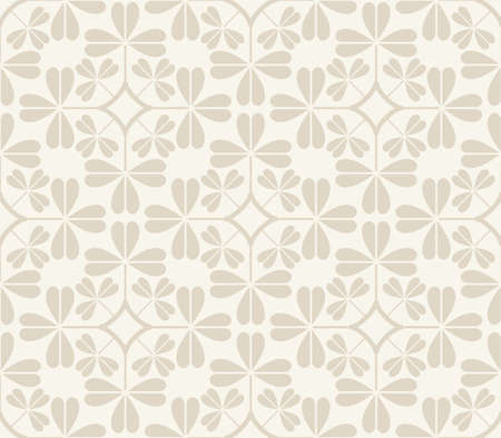 seamless clover: Vector seamless pattern with stylized clover leaves on a beige background