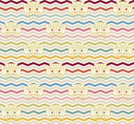 zag: Vector Seamless Chevron Pattern. zig zag waves with lilies background