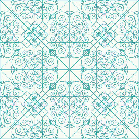 etnic: Geometric seamless ornament . Pattern in blue line on  white background