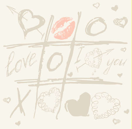 çuval bezi: vector Tic Tac Toe Hearts, Valentine background. The valentines day. Love heart. Hand drawn icons symbols. Art vintage illustration. Print for burlap textile.