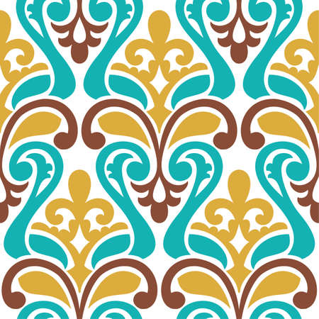 seamless damask: Seamless vector damask pattern. Classic fantasy colorful background