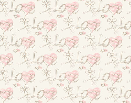 Love note Seamless text pattern with hearts. Text backgrounds applicable in printing, textiles , art objects , clothing , wallpaper , computer screensavers , games and applications . Illustration