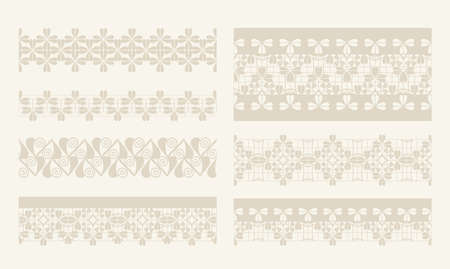 fully editable: Vector lacy vintage design elements, lace seamless borders. fully editable