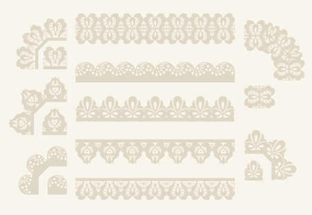paper punch: Set of lace ribbons. vector seamless borders