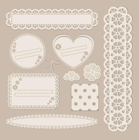 Vector Scrapbook set met verschillende elementen scrapbook papier, kant, briefkaart, zegel, kader, lint.