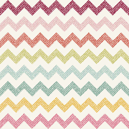 twill: vector Seamless colorful chevron pattern on texture grunge background. Vintage rustic burlap zigzag Illustration