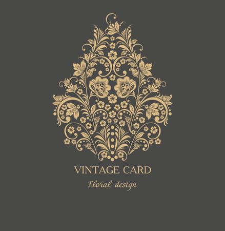 Vintage Floral Card with Flowers. Retro Frame for Restaurant or Boutique Identity Design. Spring Illustration. Summer Elements for Placard, Poster, Invitation, Flyer, Book Cover Design. Illustration