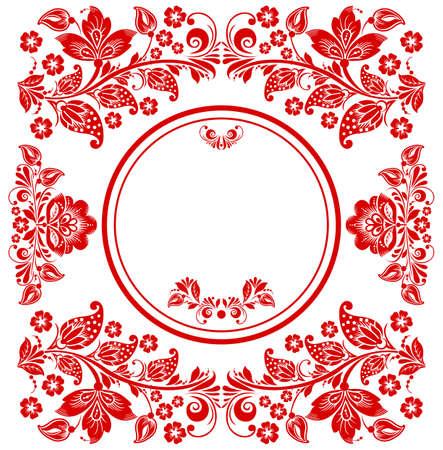 Invito di nozze Floral Floral in stile vintage. Scheda rossa e bianca. Fiori rossi.